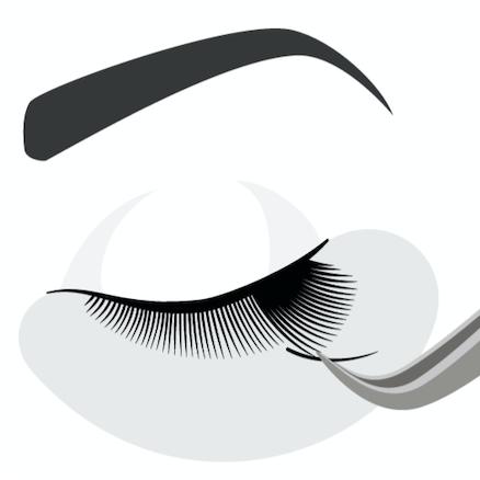 Die künstlichen Wimpern werden auf Ihre natürlichen Wimpern geklebt